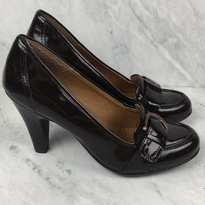 Soft Brown Patent Leather Heels with Buckle Detail